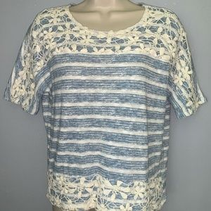 Style & Co Stripe Blue & White Blouse For Women
